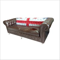 Chesterfield Vintage Two seat Sofa Brown with print flag