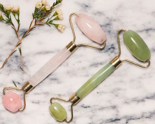 Natural amethyst jade roller rose quartz facial
