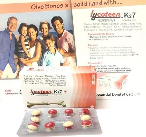 Calcium Citrate Malate, Calcitriol, Omega-3 Fatty Acids, L-Methylfolate, vitamin K2-7, Methylcobalamin, Pyridoxine-5 Phosphate & Lycopene Softgel Capsule