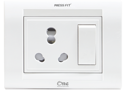 Pressfit One Modular 6/16 Amp. 3-in-1 Switch Socket Combined