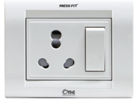 Press Fit One Modular 6/16 Amp. 3-in-1 Switch Socket Combined