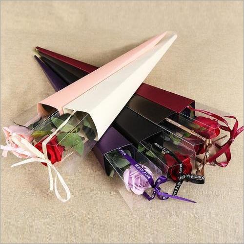 Single long stem rose flowers packaging box