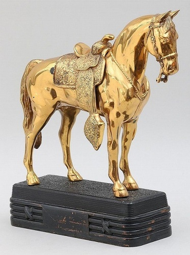 Gold Gilt Western Horse Sculpture with Saddle