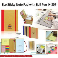 ECO FRIENDLY STICKY NOTEPAD WITH BALL PEN