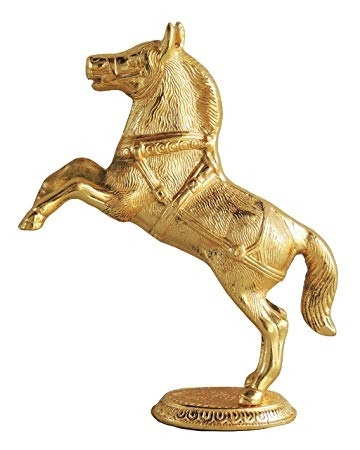 Jumping Horse Statue in Gold Finish Showpiece 25 cm