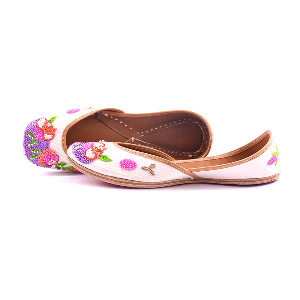 White color punjabi jutti with pink Flower work for woman