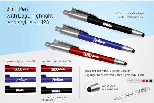 3 in 1 Pen With Logo Highlight and Sylus