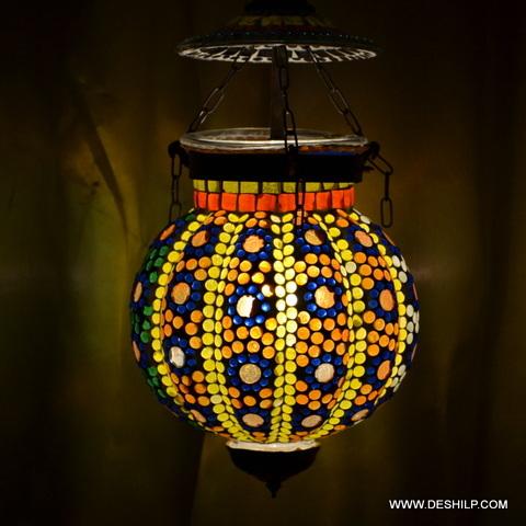 MOSAIC BEADS GLASS WALL HANGING LAMP