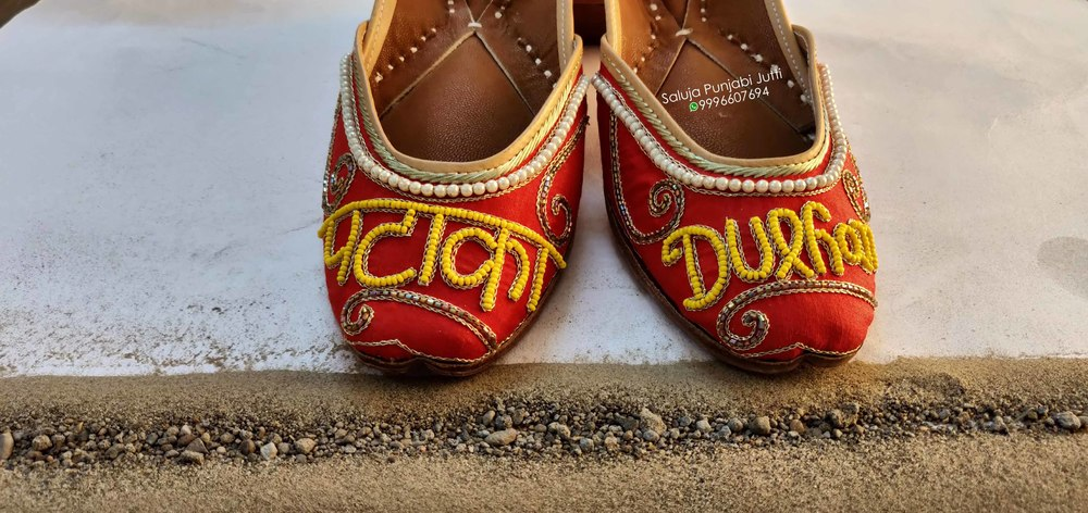 Red Punjabi Jutti For Ladies Beaded Shoes Handmade Shoes Jutti Online Jutti Shoes