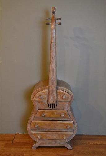 Wooden Guitar Shape Cabinet
