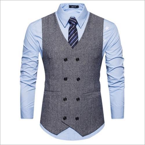V Neck Double Breasted Belt Design Waistcoat