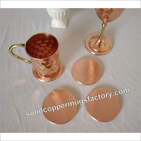 Round Copper Hammered Coaster