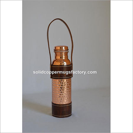 Copper Water Bottle With Leather Handle