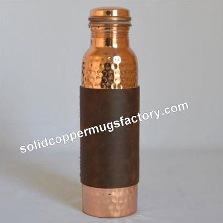 Copper Water Bottle with Leather Grip
