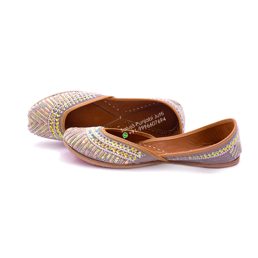 Grey  Fancy Punjabi Jutti with multi color sippi work for woman