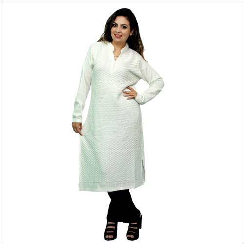 Ladies White Woolen Kurti