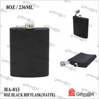 8 OZ Black Steel Hip Flask