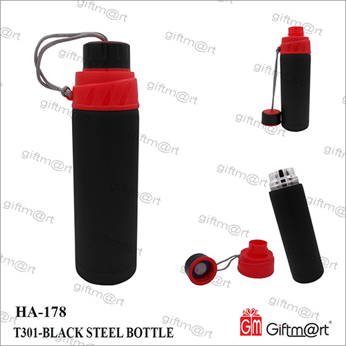 Black Sports Steel Bottle