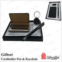 Cardholder Pen And Keychain Gift Set