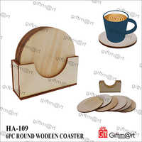 6 Piece Round Wooden Coaster