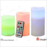 3 Piece LED Plastic Candle With Remote