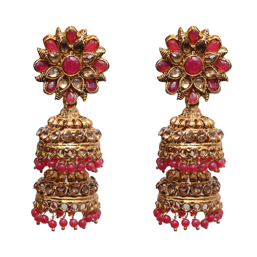 Red Metal Jhumki Earring