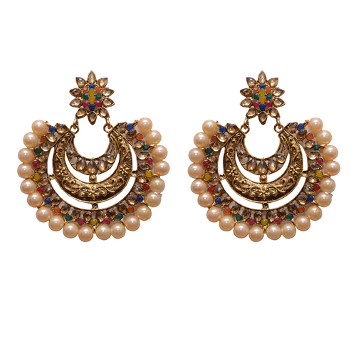 Yellow Metal Dangle & Drop Fashion Earring with Beads For Women
