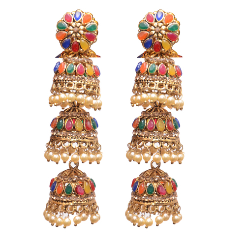 Yellow Metal Jhumki Earrings