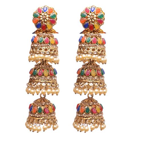 Yellow Metal Jhumki with multi coloured beads Fashion Earring Women