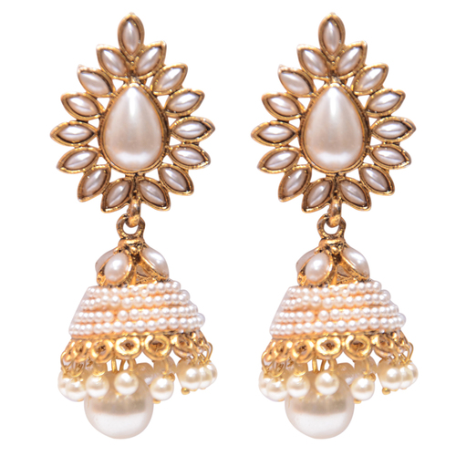 White Beaded Jhumki Earrings