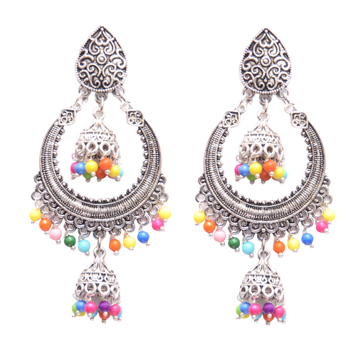 Silver Metal Dangle and Drop Earring with multi colored beads for Women