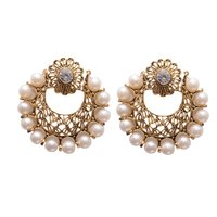 White Metal Hoop with Beads Fashion Earring Women