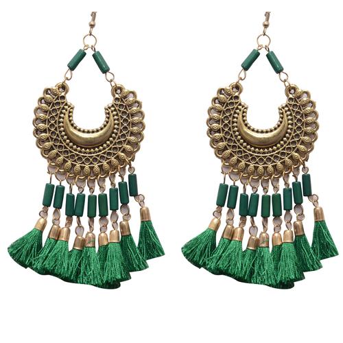 Green Metal Dangle & Drop Fashion Earring Women