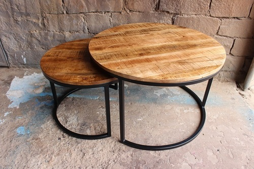 Industrial Iron Wooden Round Coffee Table