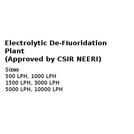 Electrolytic De - fluoridation Plant