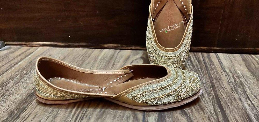 Gold Punjabi Jutti For Ladies Beaded Shoes Handmade Shoes Jutti Online Jutti Shoes