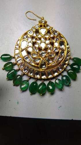 Real Gold Kundan Diamond Polki and Emerald Maang Tika