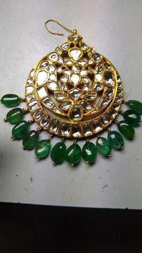 Real Gold Kundan Diamond Polki and Emerald Maang Tika
