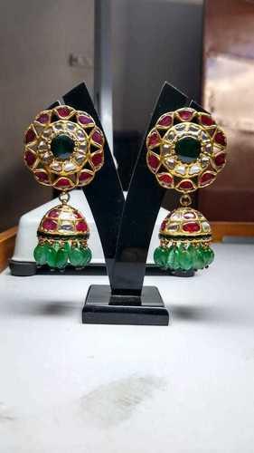 Gold Kundan Polki Natural Ruby and Emerald Jhumki Tops