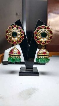 Gold Kundan Polki Natural Ruby and Emerald Jhumki Tops