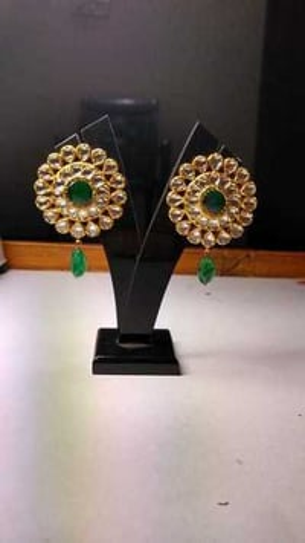 Gold Kundan Diamond Polki Natural Emerald Kundan Tops