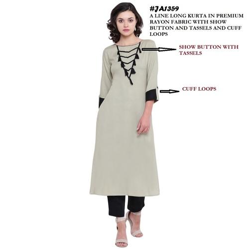 A-line rayon grey color kurti