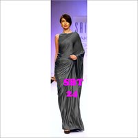 Women's Plain Satin Saree