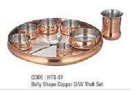 Belly Shape Copper Thali Set