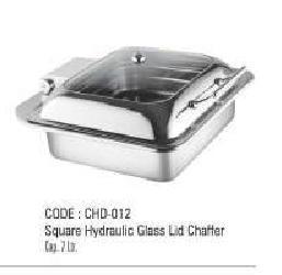 Square Hydraulic Glass Lid Chaffer
