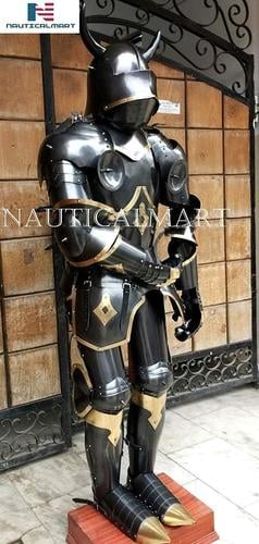 Viking Medieval Black Armor Full Suit with Brown Base