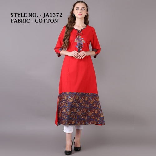 designer straight cotton kurti