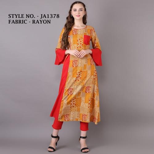 A-line rayon printed kurti
