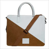 White And Beige Genuine Leather Laptop Bag