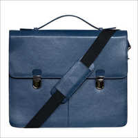 Royal Blue Genuine Leather Laptop Bag
